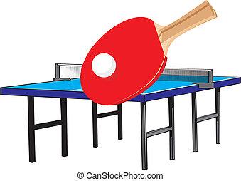 tennis, table, équipement, -
