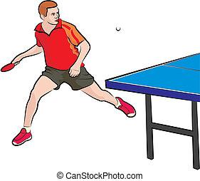tennis, tafel, -, speler