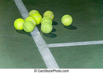 tennis, tas, balles