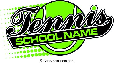 tennis team design in script with tail and large ball for...