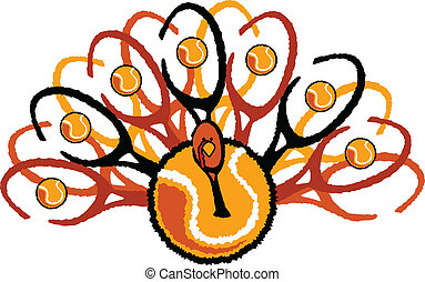 Graphic Vector Image of a Thanksgiving Holiday Tennis Turkey made up of Tennis Racquets