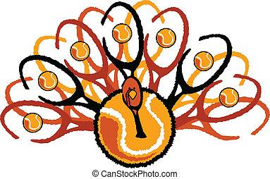 Tennis Thanksgiving Holiday Turkey Graphic Vector Illustration