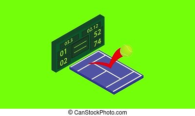 Tennis tournament icon animation cartoon best object on green screen background