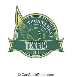 Tennis tournament vector emblem with ball.