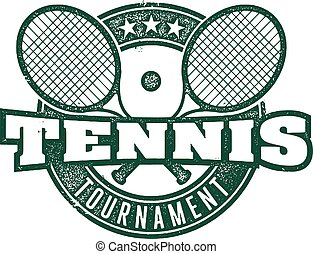 Tennis Tournament Vintage Stamp - Vintage style design for...