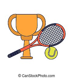 Tennis trophy cup with racket and ball blue lines