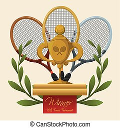 Tennis trophy, vector illustration