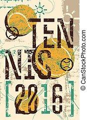 Tennis typographic vintage poster.