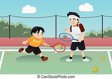 tennis, vader, spelend, zoon