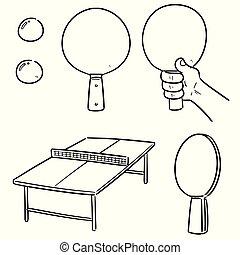 tennis, vecteur, ensemble, table