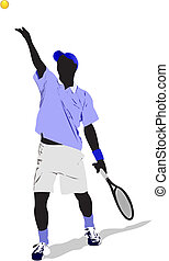 tennis, vecteur, player., coloré