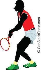 tennis, vecteur, player., coloré, homme
