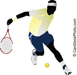 tennis, vector, gekleurde, player.