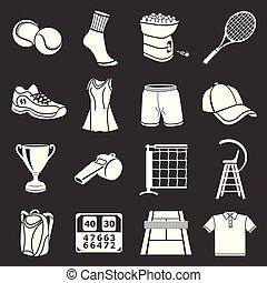 tennis, vector, set, grijze , iconen