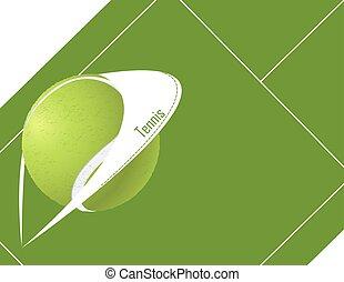 tennis, vektor, hintergrund, ball.