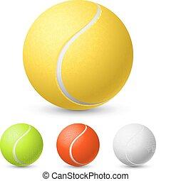 tennis, verschieden, kugel, farben, realistisch