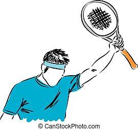tennis, winnaar, gebaar, illustratie