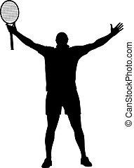 tennis winner raised his hands