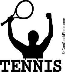 Tennis winner with word tennis