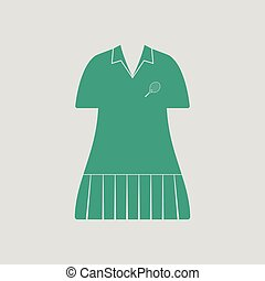 Tennis woman uniform icon. Gray background with green....