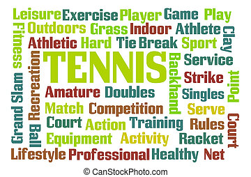 Tennis word cloud on white background