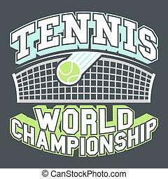 Tennis World Championship label, t-shirt typographic design