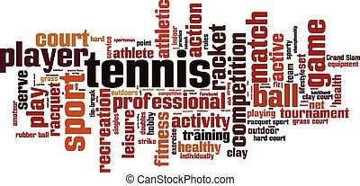 tennis, wort, wolke
