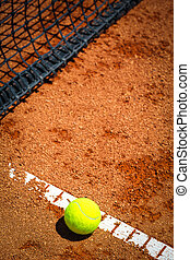 tennisball, auf, a, tennisplatz
