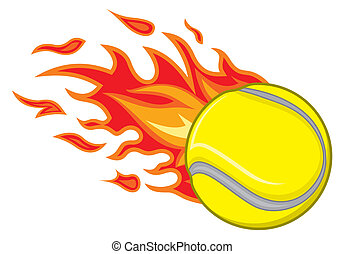 tennisball, feuer