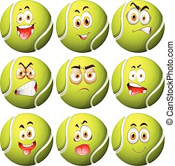 tennisball, mit, gesichtsausdruck