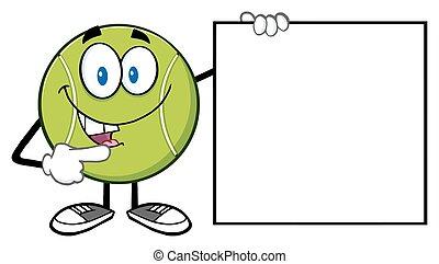 tennisball, zeigen, zeichen