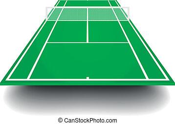 tennisplatz, perspektive