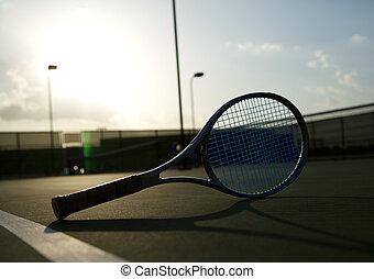 tennisschläger, backlit, per, der, sonne