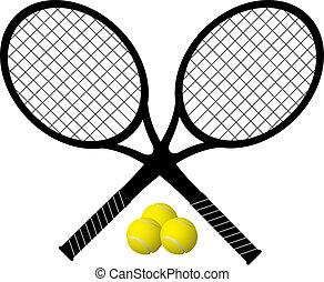 tennisschläger, kugeln