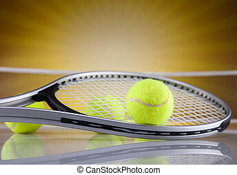 tennisschläger, mit, tennisball