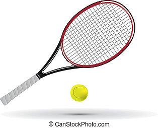 tennisschläger, und, kugel