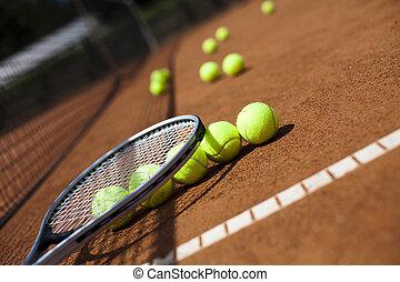 tennisschläger, und, kugeln, gericht