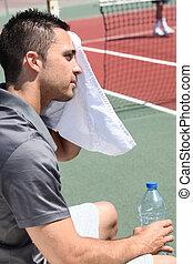 tennisspieler, fegen, heraus, der, schweißperlen, von,...