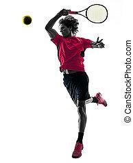 tennisspieler, mann, silhouette, freigestellt, weißer hintergrund