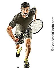 tennisspieler, mann, weißes, fällig, hintergrund, freigestellt