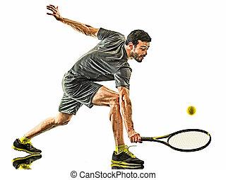 tennisspieler, mann, weißes, silhouette, fällig, vorhand, hintergrund, freigestellt