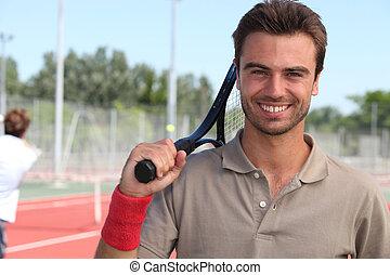 tennisspieler, mit, schläger