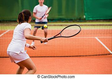 tennisspieler, spielende , a, streichholz, auf, der, gericht