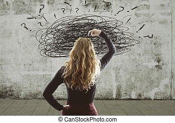 tensão, conceito, problemas, mulher