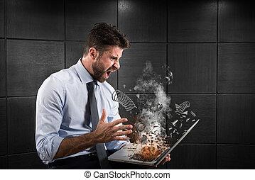 tensão, e, frustração, causado, por, um, computador