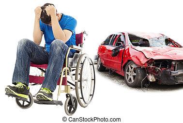 tensão, e, incapacitado, paciente, com, acidente carro, conceito