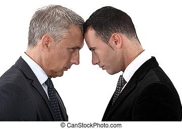 tensão, entre, homens negócios, dois