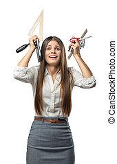 tensão, escritório, executiva, sobre, materiais, segurando, mantém, head., cutout