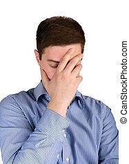 tensão, homem, frustração, negócio, sob