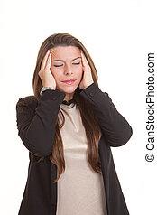tensão, mulher, dor de cabeça